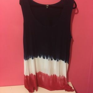 Red white and blue sleeveless tunic